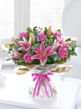Happy Birthday Pink Lily and Rose Hand-Tied