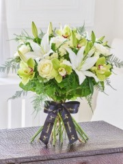 Luxury Cymbidium Orchid and Lily Hand-tied