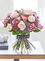 Luxury Lily and Orchid Blush Pink Hand-tied