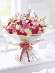 Happy Anniversary Ultimate Rose and Lily Hand-Tied