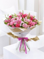 Happy Birthday Pink Lily, Rose & Lisianthus Hand-tied